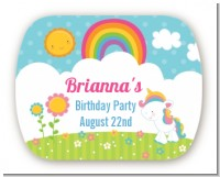 Rainbow Unicorn - Personalized Birthday Party Rounded Corner Stickers