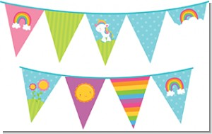 Rainbow Unicorn - Birthday Party Themed Pennant Set