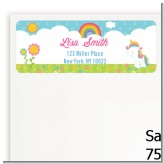 Rainbow Unicorn - Birthday Party Return Address Labels