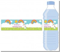 Rainbow Unicorn - Personalized Birthday Party Water Bottle Labels