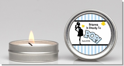 Ready To Pop Blue - Baby Shower Candle Favors