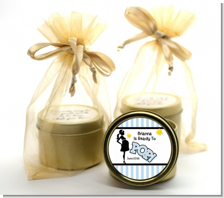 Ready To Pop Blue - Baby Shower Gold Tin Candle Favors