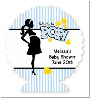 Ready To Pop Blue - Personalized Baby Shower Centerpiece Stand