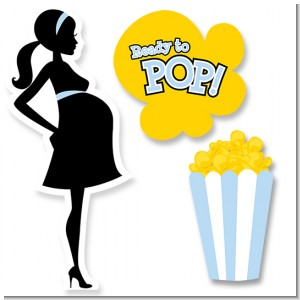 Ready To Pop Blue - Baby Shower Printed Shaped Cut-Outs