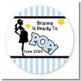Ready To Pop Blue - Round Personalized Baby Shower Sticker Labels thumbnail