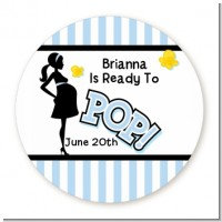 Ready To Pop Blue - Round Personalized Baby Shower Sticker Labels