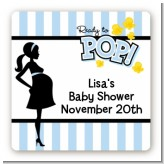 Ready To Pop Blue - Square Personalized Baby Shower Sticker Labels