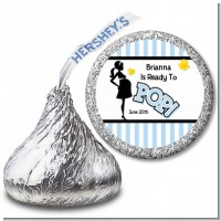 Ready To Pop Blue - Hershey Kiss Baby Shower Sticker Labels