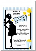 Ready To Pop Blue - Baby Shower Petite Invitations