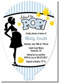 Ready To Pop Blue - Baby Shower Shaped Invitations