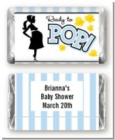 Ready To Pop Blue - Personalized Baby Shower Mini Candy Bar Wrappers