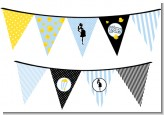 Ready To Pop Blue - Baby Shower Themed Pennant Set