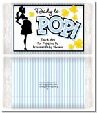 Ready To Pop Blue - Personalized Popcorn Wrapper Baby Shower Favors