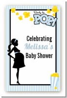 Ready To Pop Blue - Custom Large Rectangle Baby Shower Sticker/Labels