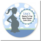 Ready To Pop Blue with white dots - Round Personalized Baby Shower Sticker Labels