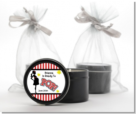 Ready To Pop ® - Baby Shower Black Candle Tin Favors