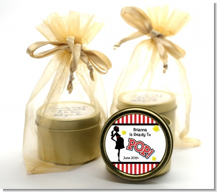 Ready To Pop ® - Baby Shower Gold Tin Candle Favors