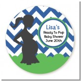 Ready To Pop Chevron Blue and Green - Round Personalized Baby Shower Sticker Labels