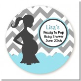Ready To Pop Chevron Gray and Aqua - Round Personalized Baby Shower Sticker Labels