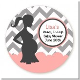 Ready To Pop Chevron Gray and Salmon Pink - Round Personalized Baby Shower Sticker Labels