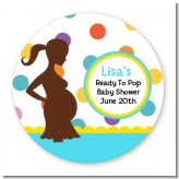 Ready To Pop Colorful Dots - Round Personalized Baby Shower Sticker Labels