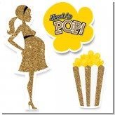 About To Pop Gold Glitter - Baby Shower Printed Shaped Cut-Outs
