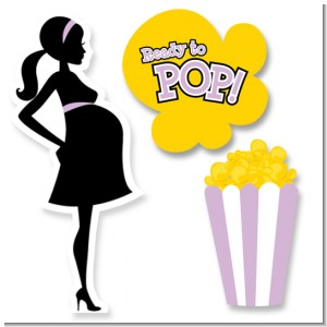 Ready To Pop Purple - Baby Shower Printed Shaped Cut-Outs