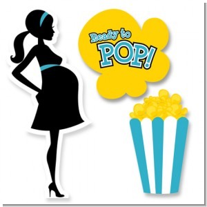 Ready To Pop Teal - Baby Shower Printed Shaped Cut-Outs