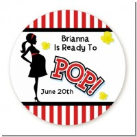 Ready To Pop - Round Personalized Baby Shower Sticker Labels