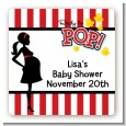 Ready To Pop - Square Personalized Baby Shower Sticker Labels thumbnail