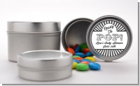 Ready To Pop Gray Stripes - Custom Baby Shower Favor Tins