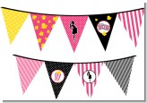 Ready To Pop Dark Pink - Baby Shower Themed Pennant Set