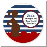 Ready To Pop Navy Blue Stripes and Red - Round Personalized Baby Shower Sticker Labels