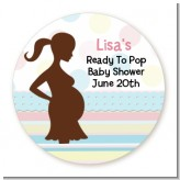 Ready To Pop Pastel Stripes and Dots - Round Personalized Baby Shower Sticker Labels