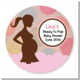 Ready To Pop Pink and Tan with dots - Round Personalized Baby Shower Sticker Labels