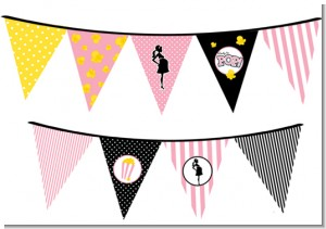 Ready To Pop Pink - Baby Shower Themed Pennant Set