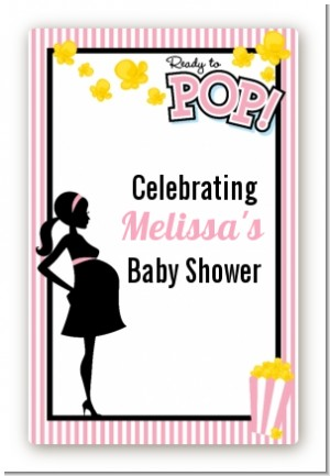 Ready To Pop Pink - Custom Large Rectangle Baby Shower Sticker/Labels