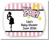 Ready To Pop Pink - Personalized Baby Shower Rounded Corner Stickers