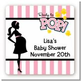Ready To Pop Pink - Square Personalized Baby Shower Sticker Labels