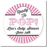 Ready To Pop Pink Stripes - Round Personalized Baby Shower Sticker Labels