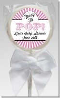 Ready To Pop Pink Stripes - Personalized Baby Shower Lollipop Favors