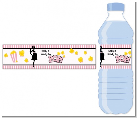 Ready To Pop Pink Personalized Baby Shower Water Bottle Labels