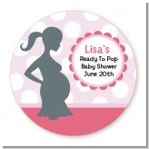 Ready To Pop Pink with white dots - Round Personalized Baby Shower Sticker Labels
