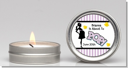 Ready To Pop Purple - Baby Shower Candle Favors