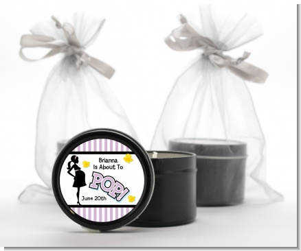 Ready To Pop Purple - Baby Shower Black Candle Tin Favors