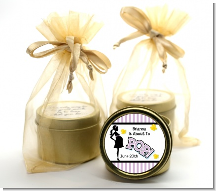 Ready To Pop Purple - Baby Shower Gold Tin Candle Favors