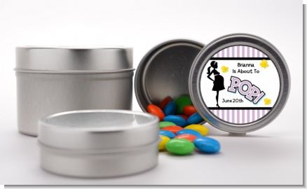 Ready To Pop Purple - Custom Baby Shower Favor Tins