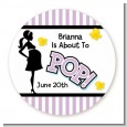 Ready To Pop Purple - Round Personalized Baby Shower Sticker Labels thumbnail
