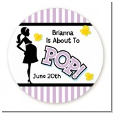 Ready To Pop Purple - Round Personalized Baby Shower Sticker Labels