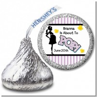Ready To Pop Purple - Hershey Kiss Baby Shower Sticker Labels